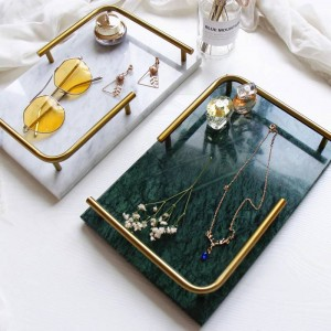Plateau rectangulaire en marbre naturel de luxe de lumière nordique bijoux plateau de beauté de parfum de beauté plateau