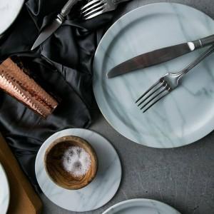 Assiettes en marbre nordique, assiettes plates 23cm / 18cm assiettes en saladier assiettes en céramique bandejas