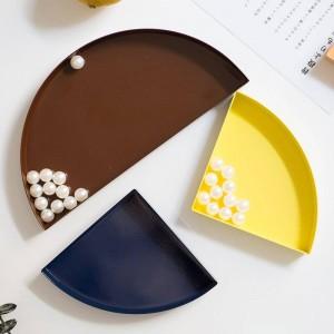 Plateau de rangement en demi-cercle nordique en métal scandinave coloré bureau plateau de rangement de bijoux de fruits organisateur de la maison