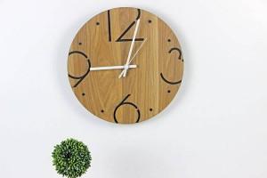 Mode nordique minimaliste rond en bois horloge murale Salon chambre étude muet horloge murale Horloges murales Décoration murale