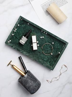 Plateau en marbre naturel minimaliste nordique plaque de bijoux décoration plateau de rangement de salle de bains