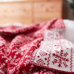 Flocon de neige nordique couverture tricotée rouge fil couverture drap de lit climatisation plaquettes de couverture pour lits canapé décorations de Noël