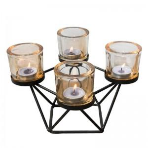 Style nordique bougeoir géométrique fer art verre bougeoir aromathérapie bougies base aux chandelles dîner dîner lumière décor