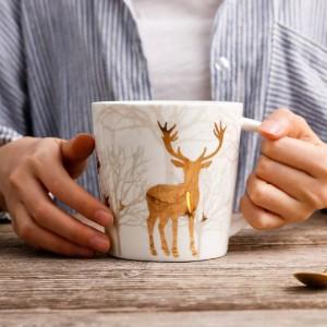 Nordic Style Céramique Tasse De Cerf Doré Plaquage 550 ML Tasse De Café Au Lait Café Thé Petit Déjeuner Porcelaine Drinkware Tasse Cuisine Outils De Cuisine