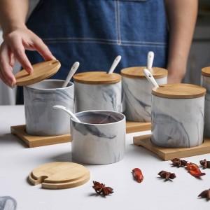 Assaisonnement en pot en céramique marbrée de style nordique Assaisonnement en trois pièces Saupoudreuse de stockage Assaisonnement pour ensembles à épices résistant à l'humidité