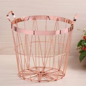 Panier de rangement de style nordique en or rose, cuisine en fer forgé, panier à linge avec poignée