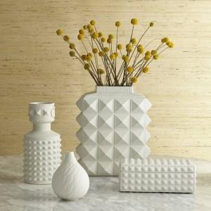 Nordique Style Blanc Géométrique Vases En Céramique Simple Moderne Maison Modèle Salle Salon Salon Fleurs Ornements Ornements