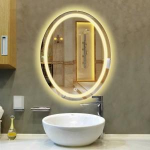 Salle de bains ovale LED lampe miroir miroir suspendu salle de bains avec miroir de maquillage lumière moderne tactile commutateur miroir de bain mx12151130