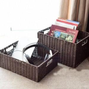 Panier de rangement pour pâtes et rotin avec boîte de rangement de style japonais, panier de rangement avec boîte de rangement et grand tiroir