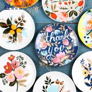 Plante Fleur Motif Vaisselle Os Petit Déjeuner Assiette De Fruits Créative Vaisselle En Céramique Fit Four Micro-ondes Navire Libre