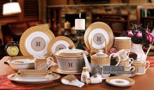 """Bol en porcelaine os """"H"""" marque contour de la conception de la mosaïque en forme ronde en or 4.5 """"bol 4.5"""" bol de riz correspond à petite cuillère à utiliser"""