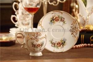 Ensemble de café en porcelaine motif de fleur en os avec contour en relief en or 15pcs tasse à café ensemble pot de café tasse à café tasse soucoupe ensemble