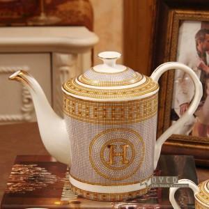 """Ensemble à café en porcelaine avec motif """"H"""" en mosaïque or 15pcs ensemble à thé européen ensemble à thé avec soucoupe à café"""