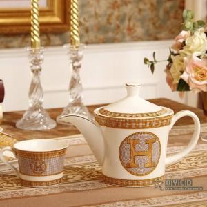 """Ensemble de café en porcelaine avec motif """"H"""" en forme de mosaïque or 8pcs de thé en céramique de thé"""