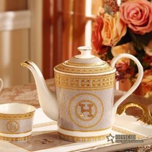 """Service à café en porcelaine avec motif """"H"""" en forme de mosaïque or 8pcs service à thé européen"""