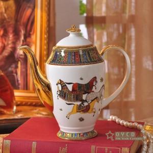 Ensemble de café en porcelaine avec contour de couleur rouge en forme de tête de femme en or 15pcs tasse à café ensemble