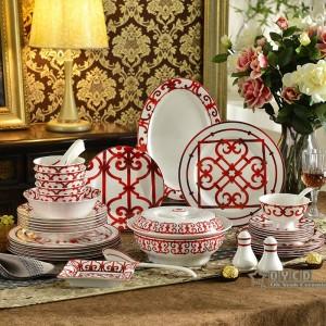 Ensemble de vaisselle en porcelaine avec os rouge Caractéristiques de la conception 58pcs ensembles de dîner 43pcs ensemble de café 15pcs