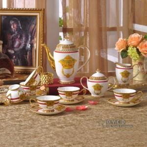 Ensemble de vaisselle en porcelaine, mode de décoration de maison en os, or 58pcs de vaisselle, ensemble de dîner, ensemble de café, cadeau