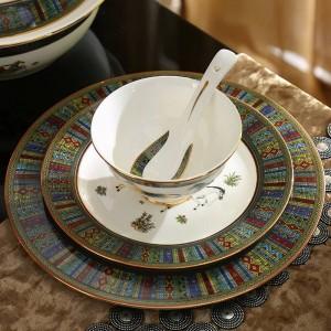 Ensemble de vaisselle en porcelaine, dieu en os, conception de contour en or 58pcs, ensembles de vaisselle, ensemble de dîner, ensemble de café, cadeau de mariage