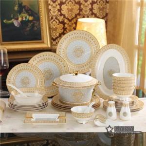 Ensemble de vaisselle en porcelaine sertie de mosaïque en or dans les assiettes en or 58pcs ensembles dîner ensemble café ensembles cadeaux