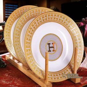 """Ensemble de vaisselle en porcelaine avec motif """"H"""" en forme de mosaïque or 58pcs sertie de cadeaux de pendaison de crémaillère"""