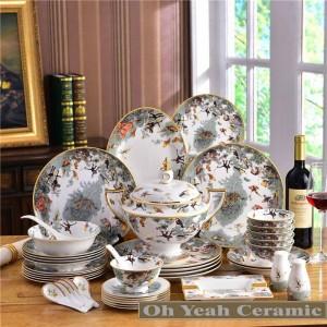 Ensemble de vaisselle en porcelaine sertie de zoologie osseuse dessin en relief contour en or 58pcs vaisselle s café ensembles de mariage