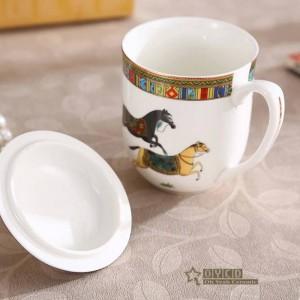 Tasse en porcelaine tasses en os, tasse à café en céramique dorée avec couvercle