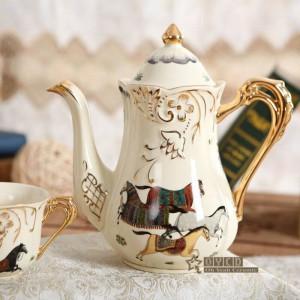 Service à thé en porcelaine Dieu en porcelaine ivoire contour de dessin en or 8pcs services à thé tasse sertie plateau plateau plateau à thé plateau à thé