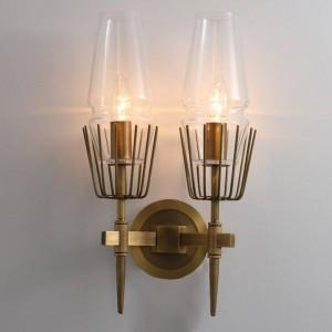 Applique industrielle postmoderne 1/2 têtes de verre à led mur Scone Light restaurant Escaliers allée Luminaire Chambre Lampe de chevet