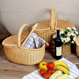 Panier en rotin panier de fruits avec couvercle panier de pique-nique panier de rangement extérieur