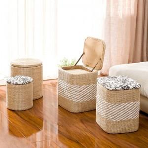 Le changement de tabouret de stockage de paille de rotin chausse le tabouret de stockage de tabouret peut asseoir les personnes couvertes de boîte de stockage de sofa de tabouret pouf