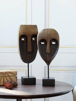 Résine Noir Arbre Motif Visage Africain Décoration Décoration Artisanat Créatif Moderne Bureau Minimaliste Cadeaux