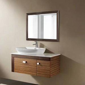 Miroir de salle de bain rétro en noyer noir mural salon chambre miroir de courtoisie wx8221537