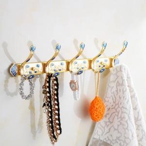 Crochets en laiton Finition Or Manteaux Crochets Porte Étagère Vêtements Sacs Porte-serviette Accessoires de Chambre Porte-Serviette Mural HA-26W