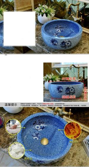 Lavabo rond en céramique lavabo lavabo comptoir lavabos évier salle de bains bleu porcelaine évier navire papillon