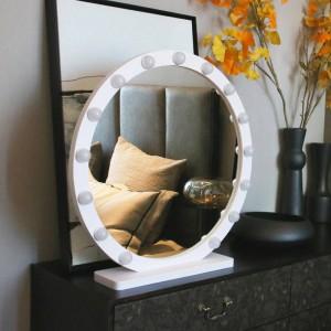 Grand miroir de maquillage rond avec lumière led miroir de courtoisie de bureau professionnel HD remplissage direct lumière miroir de style princesse mx12291632