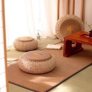 Pouf rond Pouf Tabouret En Rotin Coussin De Siège De Yoga Coussin De Méditation En Paille Tatami Rustique Moderne Tricoté Pouf Meubles Meuble Pouf