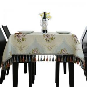 Couvre-lit de table de mariage jacquard Toalha De Mesa gland modèle de luxe royal nappes de mariage