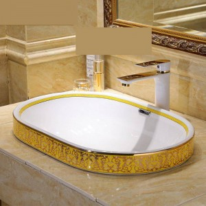 Semi Embedded Europe Vintage Style Art lavabo Lavabo En Céramique Lavabo Salle De Bains Lavabos Lavabo Salle De Bains Bol ovale