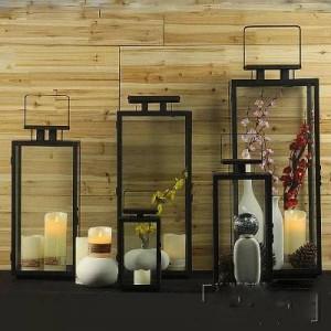 Simple moderne européen rétro en fer forgé verre bougeoir extérieur vent vent lampe portable lampe de mariage les accessoires de cheval lampe