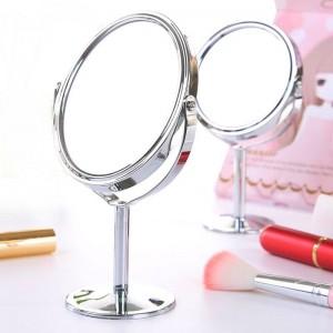 Petit maquillage miroir bureau ronde ovale table miroir simple dames ménage métal Rotation miroir double face vanité mx318094