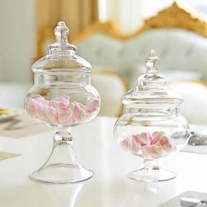 Petit verre transparent Pot de bonbons Salon Décoration Réservoir de stockage Disposition de la boutique de mariage Boîtes en verre Sucrier