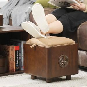 Tabouret de rangement pour tabouret de rangement en bois massif peut s'asseoir banc de chaussures multifonctionnel pour adulte