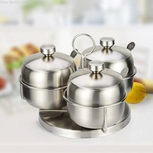 Combinaison de pots à épices Rotation des épices et des poivrières en acier inoxydable 304