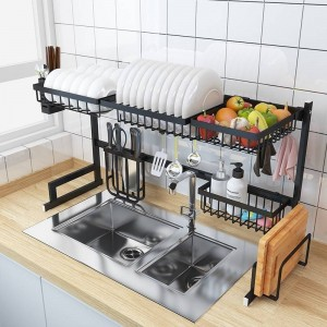 Rangement d'évier de cuisine en acier inoxydable organisateur de plat ustensiles de stockage