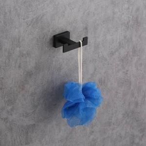 Crochet de serviette fixé au mur en acier inoxydable simple crochet peint en noir vêtements crochet matériel de salle de bains