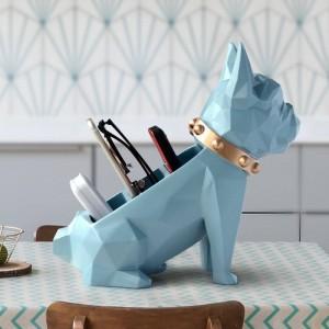 Boîte de rangement pour la décoration de la maison bureau Mobile téléphone outils contrôle organisateur Résine Chien statue figurine pour support de table de bureau