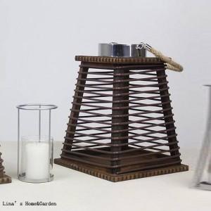 bougeoir lanterne en rotin avec cadre en bois fait main vintage