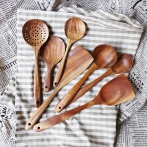 Thaïlande teck bois naturel Artisanat Vaisselle Cuillère Louche Long Riz Soupe écumoire Cuillères Cuisson Scoop Main Cuisine Tool Set