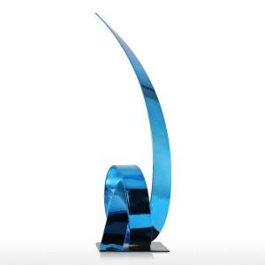 Le Bleu Montante Ruban Sculpture En Métal En Fer Sculpture Moderne Abstraite Figurines Artisanat Statues pour Décoration Ornement